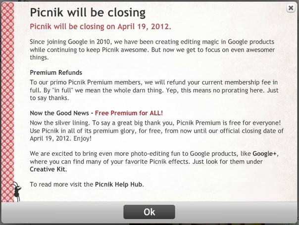 Picnik終了のお知らせ by Flickr