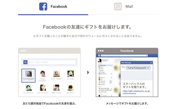 ギフトの送信方法(Facebook)