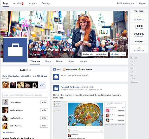 Facebookページ 新デザイン