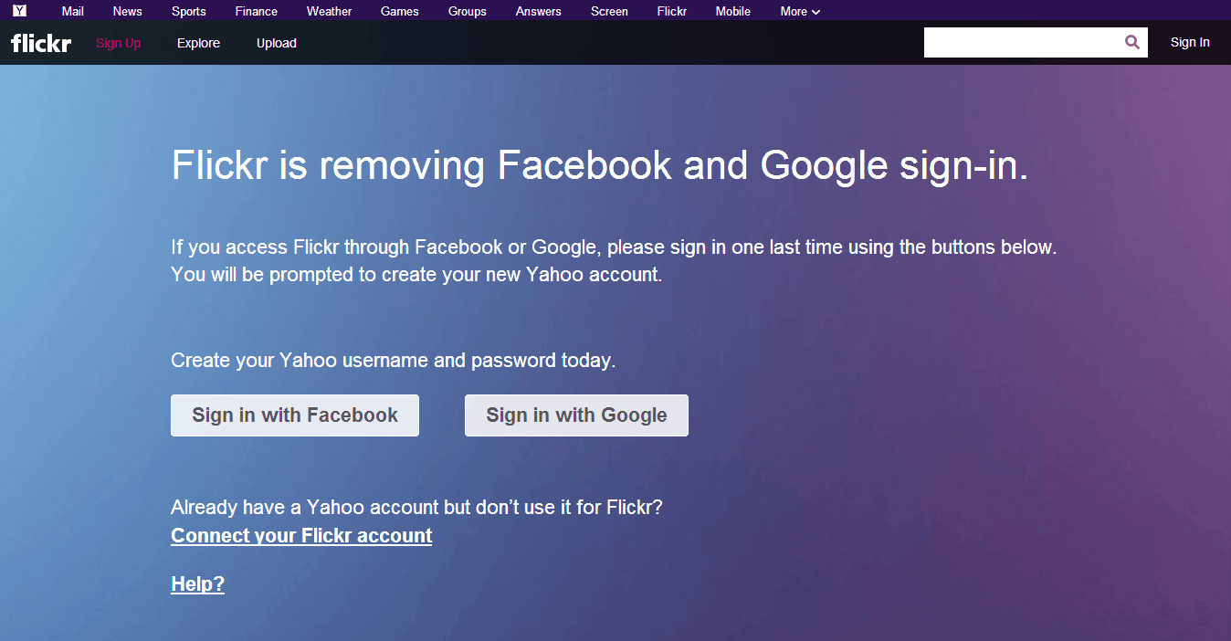 Flickr is removing Facebook and Google sign-in.