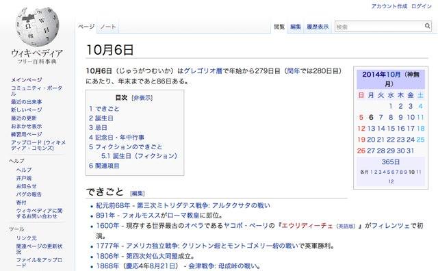 Wikipedia 10月6日