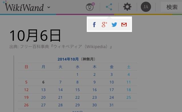 WikiWand ソーシャルへのシェア