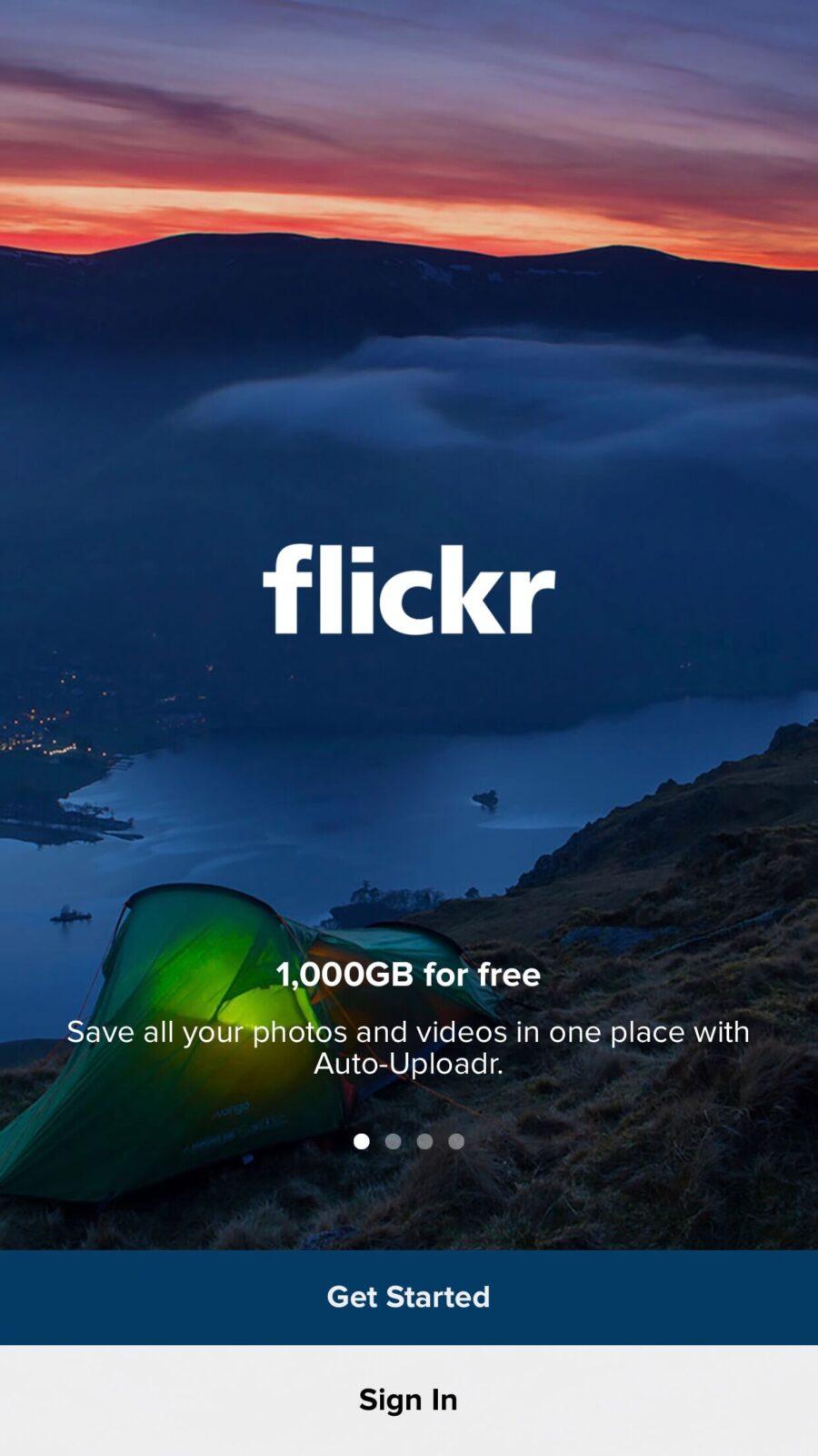 Flickr公式アプリ スプラッシュ画面