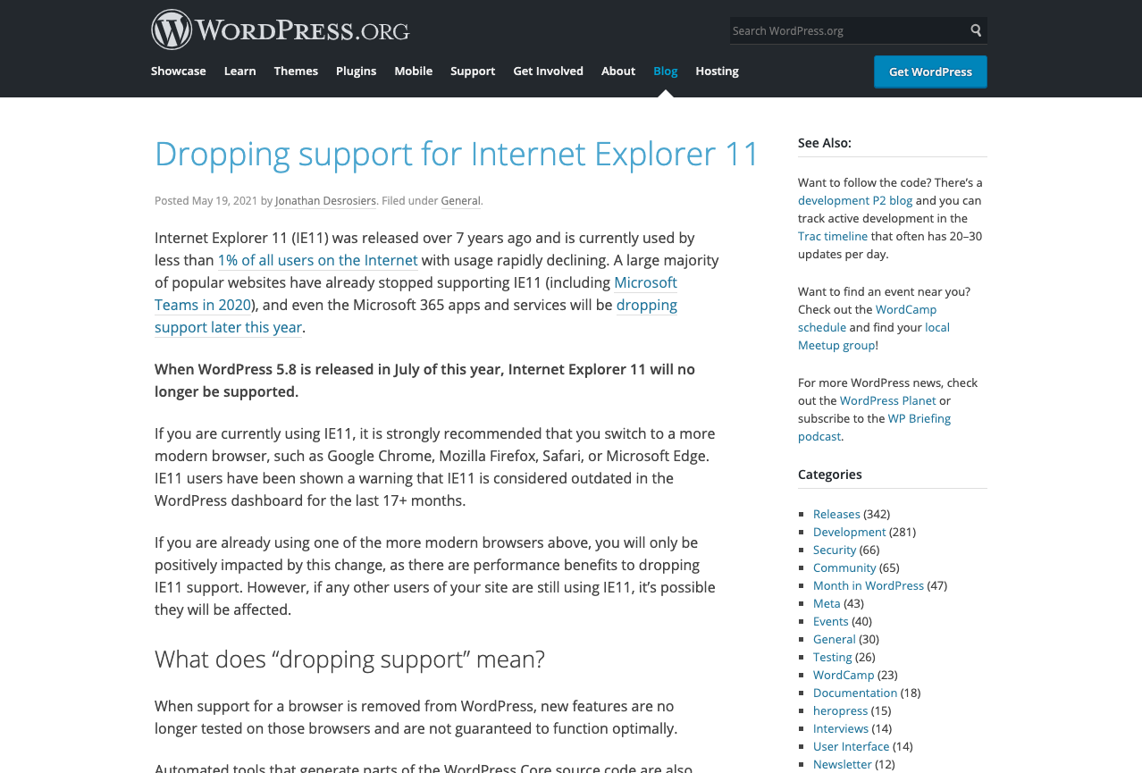 Dropping support for Internet Explorer 11